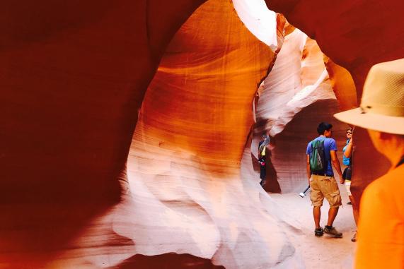 Antelope Canyon Tours People Walking Through